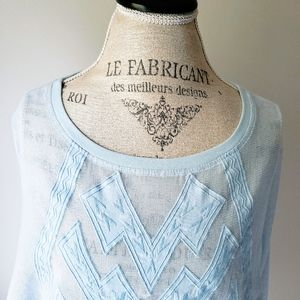 Meadow Rue | Baby Blue Sheer Embroidered Blouse